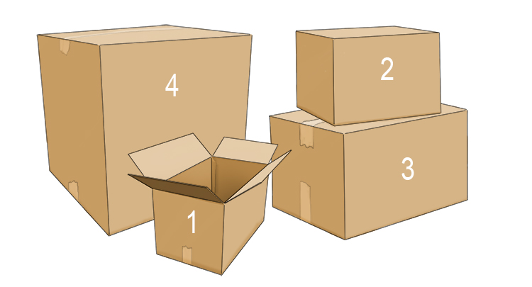 To make the process easier, number the boxes from smallest to largest: