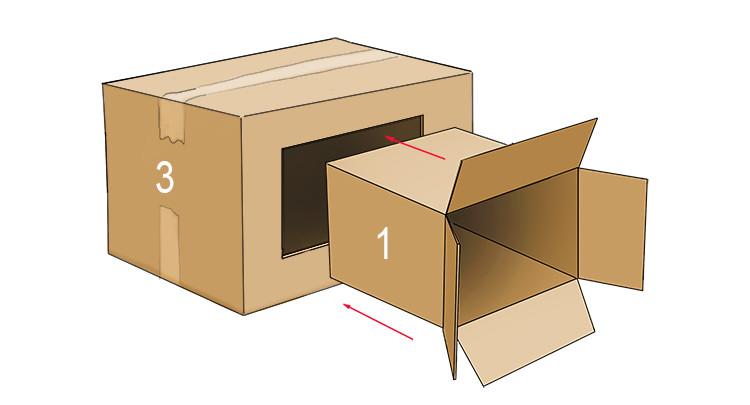 Cut out the section you have marked out from box 3 in order to slide box 1 into it.