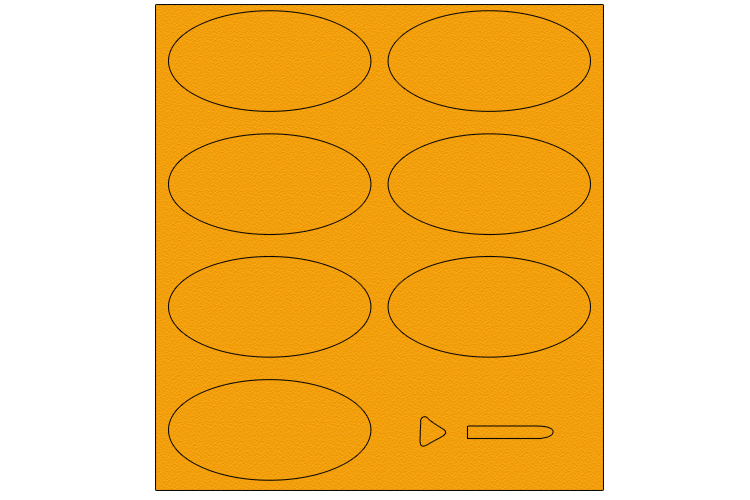 Using a coloured piece of card, draw seven large ovals and a small triangle and rectangle with rounded edges at one end.