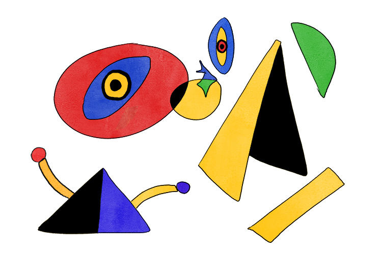 Now paint these shapes in with primary colours including black. Half shade some of the shapes with different colours.
