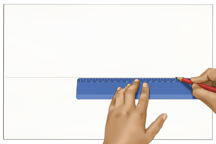 The first step in this tutorial is to get a piece of paper and use a ruler to lightly draw a horizontal line across the centre of the page. This will be your horizon line.