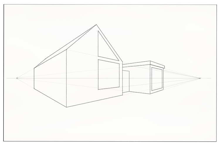 Draw the verticals for some large windows and join them together using the vanishing points as guides.
