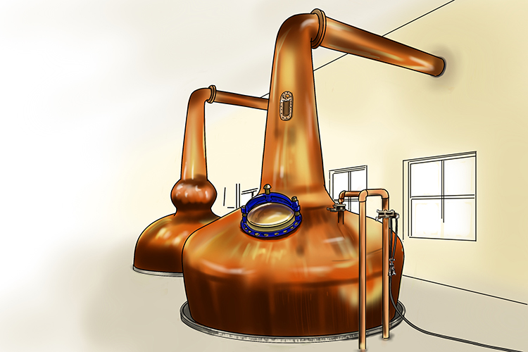 Stills are used in the manufacture of alcohol in factories