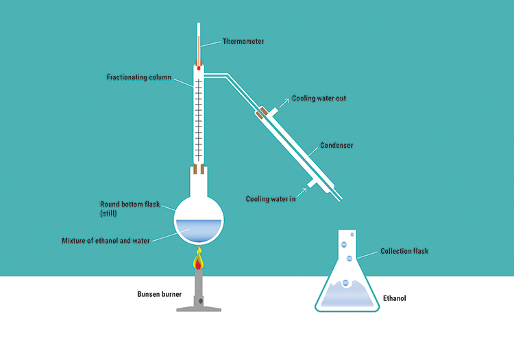 As ethanol and water boiling points are close together they both evaporate, but the evaporated elements reach a condenser where water condenses on the glass it is released through taps leaving only the ethanol which turns into a liquid and gathers in a co