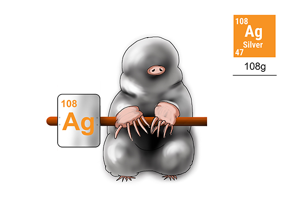 One mole of silver weighs 108g this is also the amount of protons and neutrons in its molecular structure