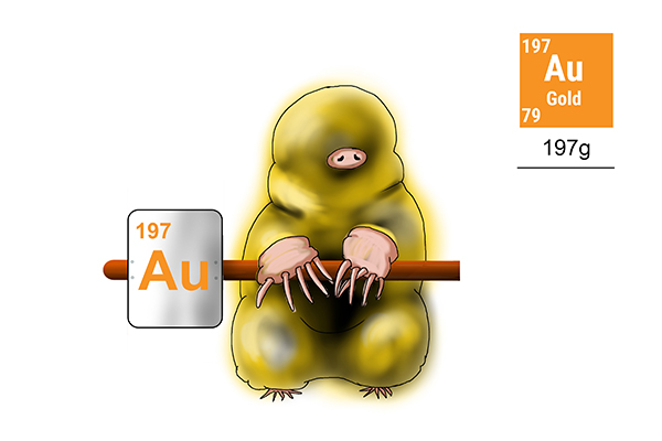One mole of gold weighs 197g this is also the amount of protons and neutrons in its molecular structure