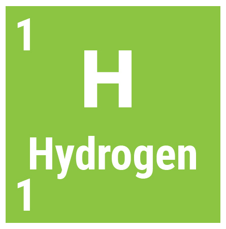 Hydrogen block from the periodic table showing one atomic and mass number