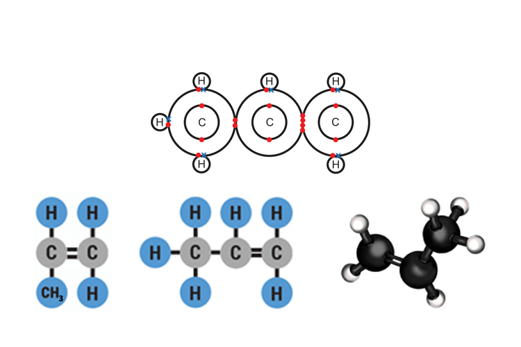 Propenes molecular structure has 3 carbon atoms and 6 hydrogens