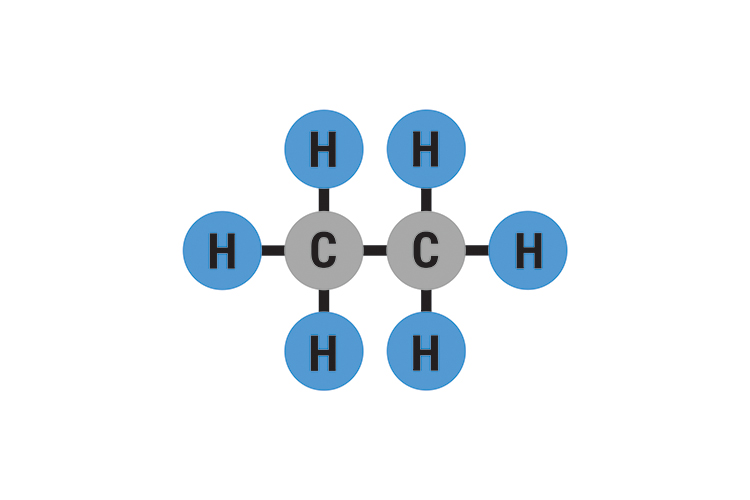 Ethane has 2 carbon atoms with 6 hydrogen atoms bonded