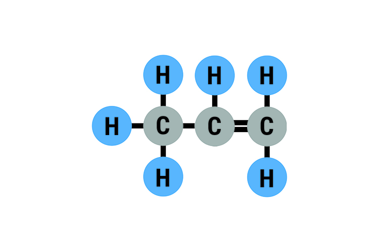 Propene has 3 carbon atoms with 6 hydrogen atoms bonded to it