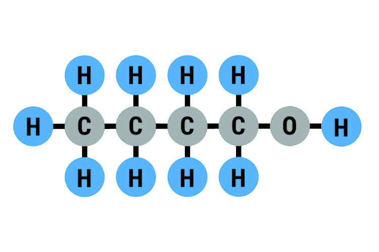 Butanol molecular bonds showing the arrangement of the hydrogen carbon and oxygen atoms