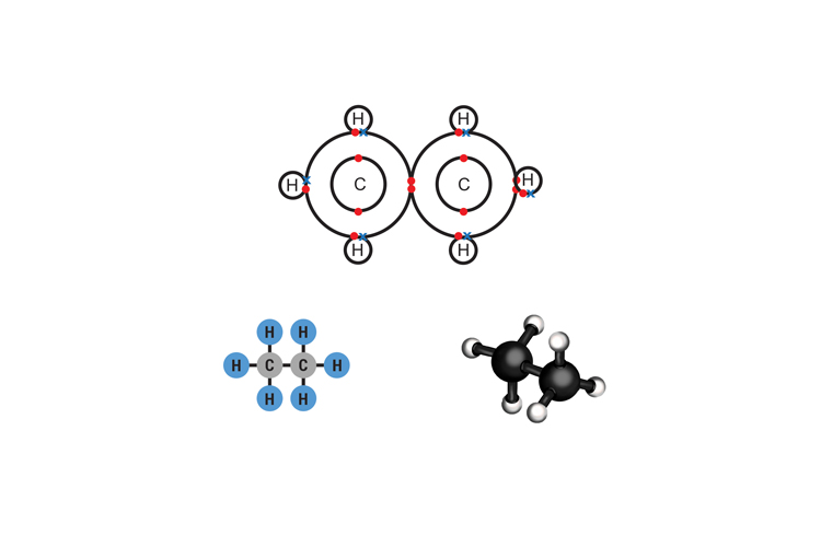 Ethanes molecular structure is 2 carbon atoms and 6 hydrogens