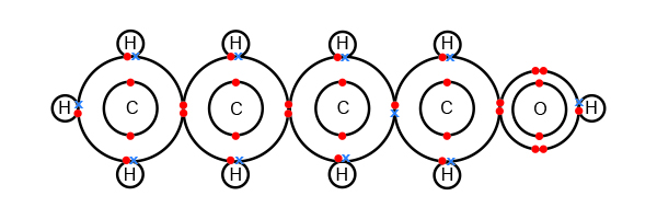 Butanol atomic shell bonding's