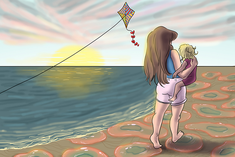 The kite fluttered over the mother (fluther) – she watched it so closely that she didn't notice she was walking on the jellyfish.
