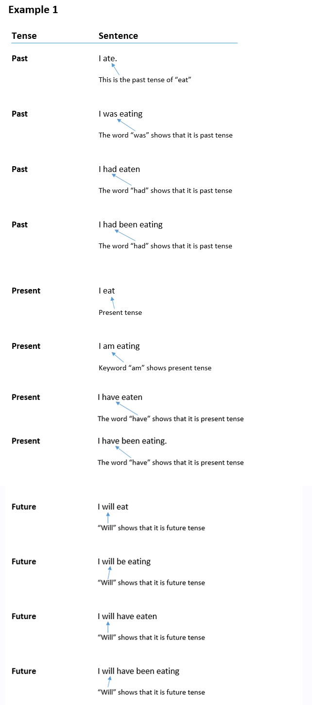 How to recognise and use past, present and future tenses, further example