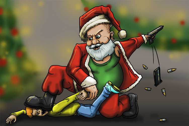 Last Christmas (December), a child visiting Santa Claus pulled a gun on him. Santa had no option but to disarm the brat (Decembre).