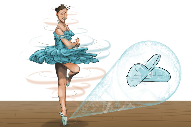 She was rotating on slippers (rotational slip) made of ice. No wonder she moved so fast in a circular motion.
