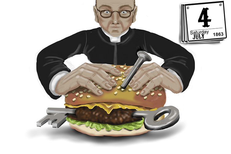 The Vicar tried to eat the burger the day after getting the burger (the day after Gettysburg).