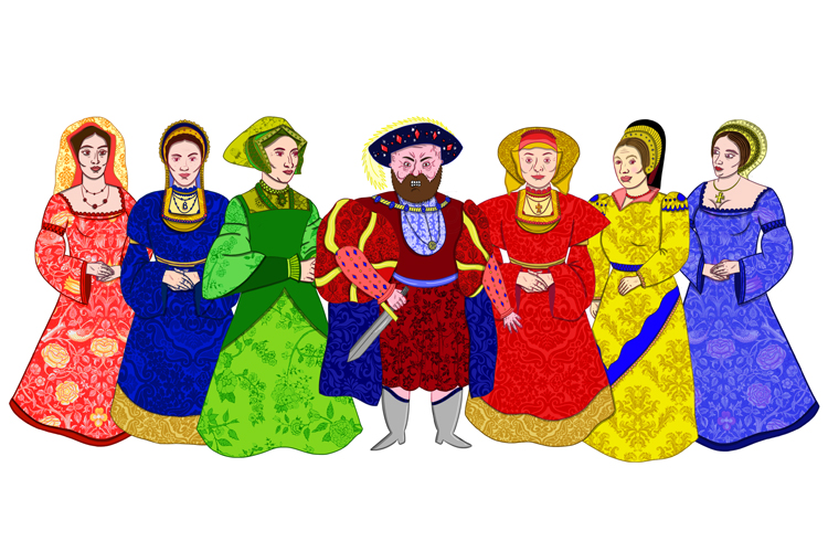 Six wives of Henry VIII, picture of Henry VIII and all wives, how to remember