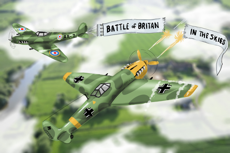 "Battle of britain but the messerschmitt has blown off the end of the message ""In the skies"". Battle of Britain was fought in the skies over Britain."