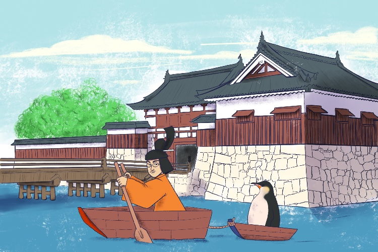He rowed and he towed (hirohito) a king emporer penguin around his palace's moat.