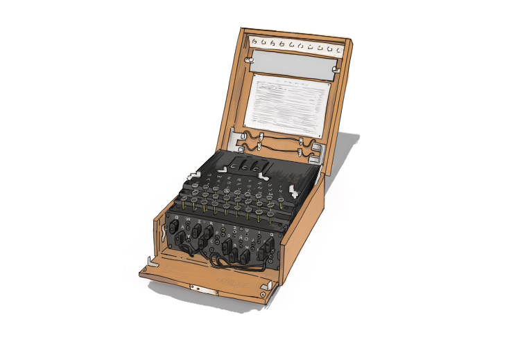 Typical enigma machine as used by the Germans