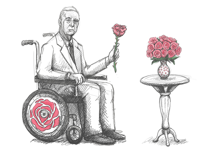 Frankly, the roses felt (Franklin D Roosevelt) prickly but he didn't care, he wanted them everywhere, they even covered his wheelchair.