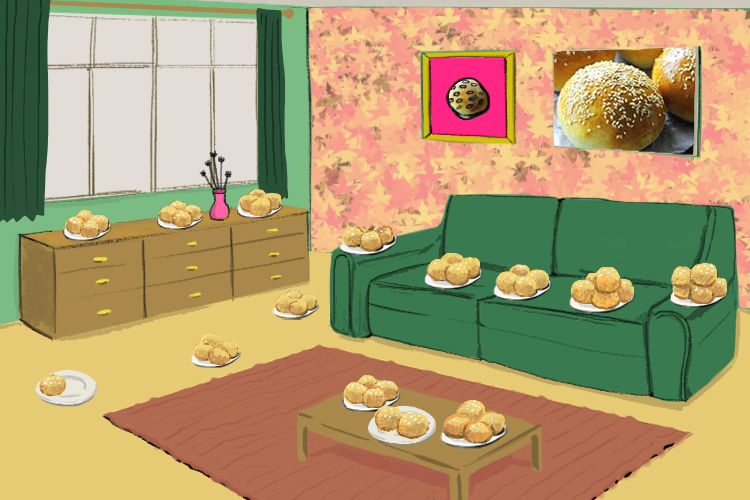 She lay all the buns around the room (lebensraum) - they took up all the living space.