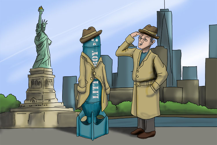Is that a man in a hat (Manhattan Project) in New York City or a bomb in disguise?