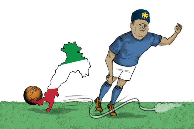 Bend your knee not your toes (Benito). You must not lean in (Mussolini). Even the Italian country kicks a football better.