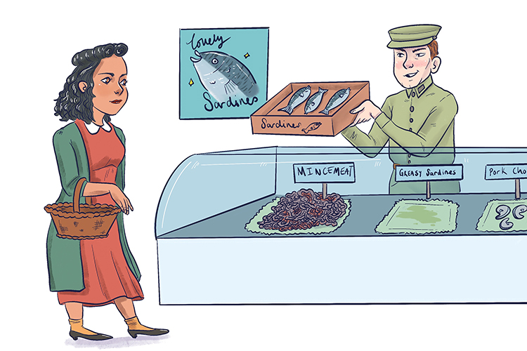 """Can I have some mincemeat?"" (operation mincemeat) she said, but the British Army Officer said ""Sister, don't be silly"" (not Sicily) ""What you need is greasy sardines."" (Greece and Sardinia instead)"
