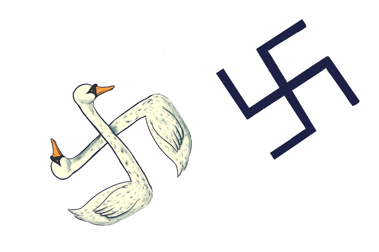 Two swan stickers (swastika) in the shape of the Nazi emblem.