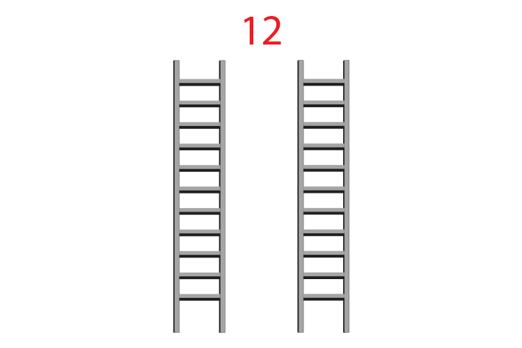 Draw 2 ladders below a number side by side