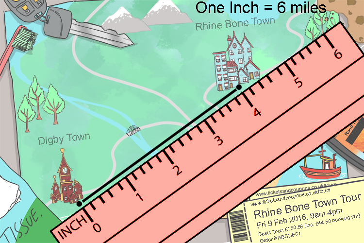 Measure the distance using inches then using the scale see how many meters are shown in an inch to work out the distance