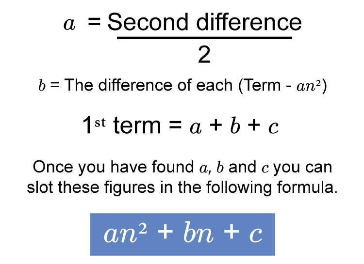 This method will find you the answers to a b and c quicker so its just a case of working out the formula