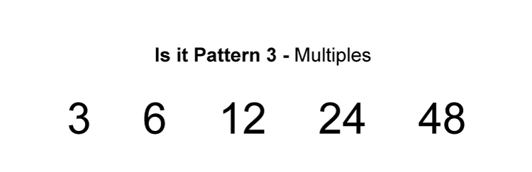 Here the number before the other is being multiplied by 2 so the multiplication is consistent