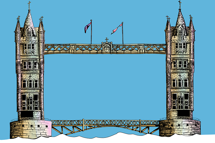 The towers on tower bridge are perpendicular to the road