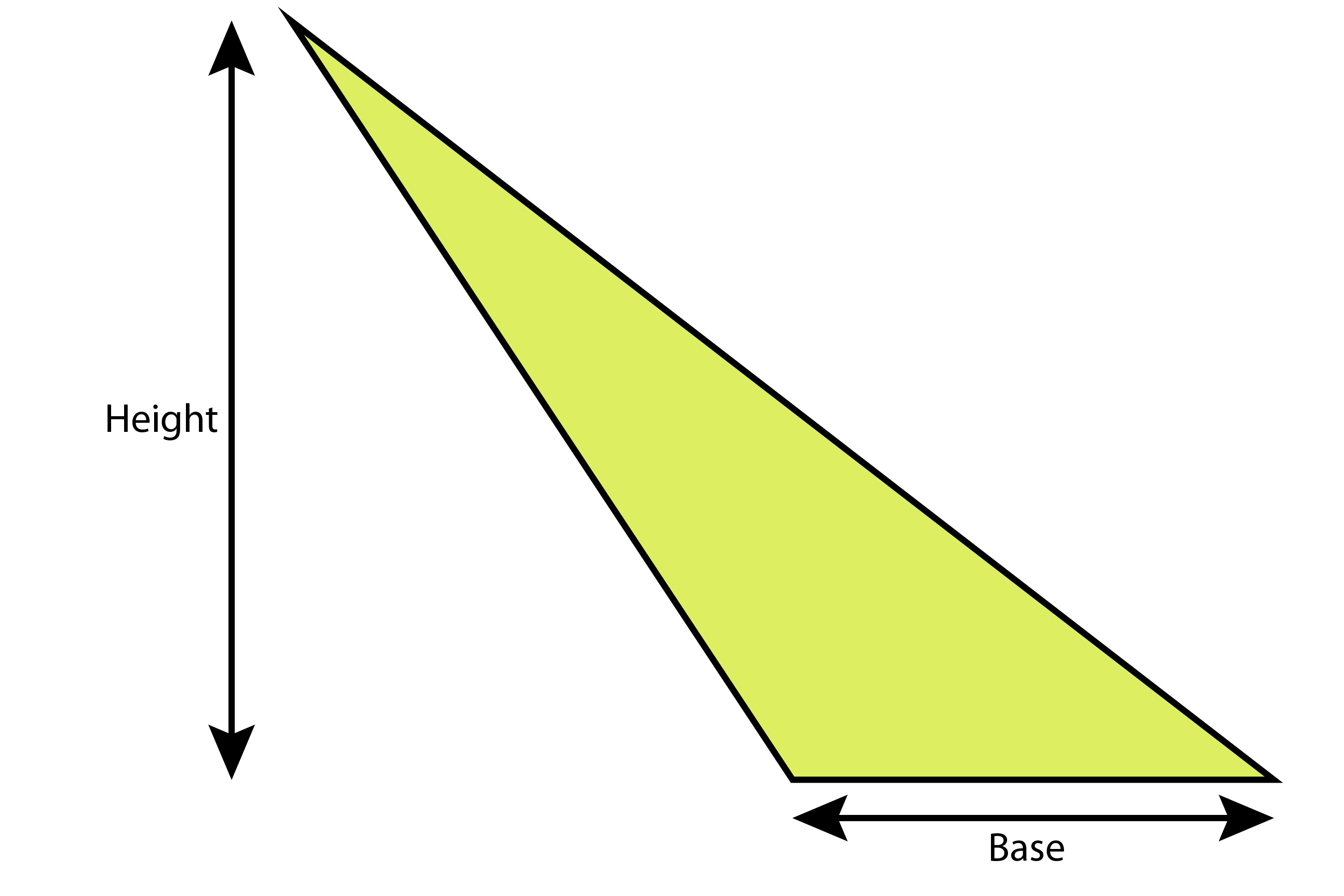 Even for slanting triangles and other triangles which are not right angle triangles, its half base times height