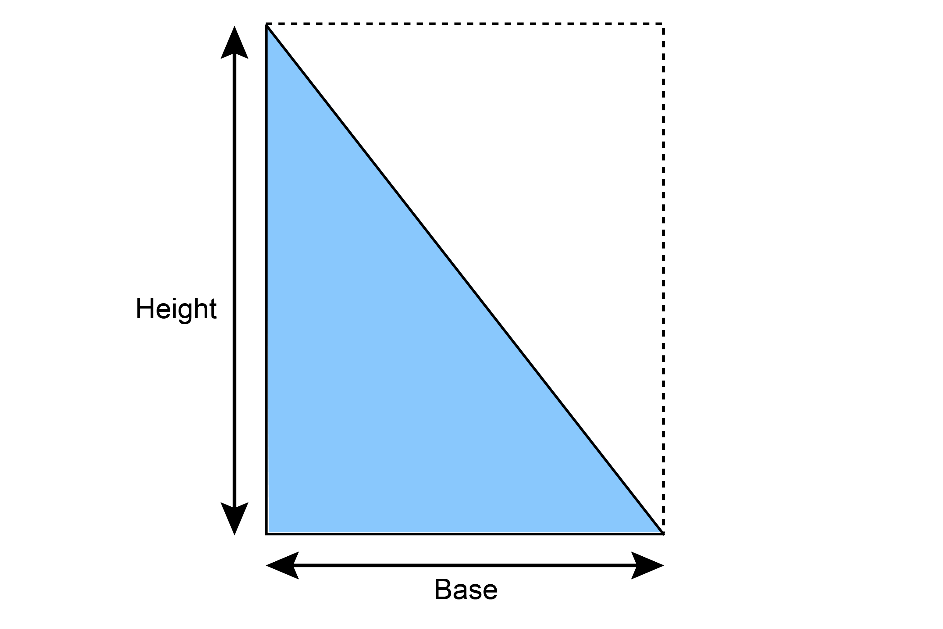 To find the area of a triangle its half base times height