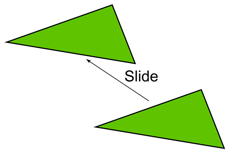 These shapes have been slid but are exactly the same so they are congruent