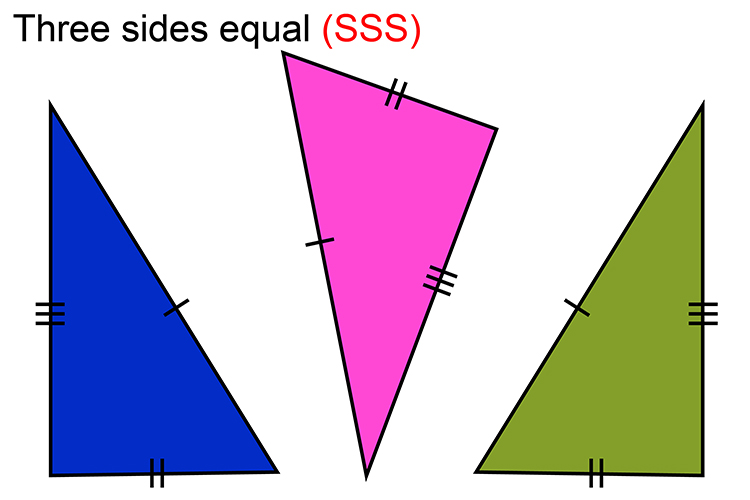 The SSS rule is, if 3 sides are the same as the other triangles they are congruent known as SSS