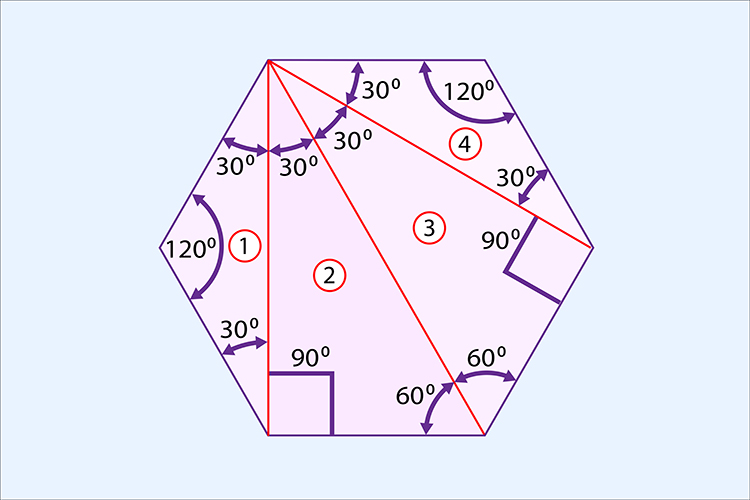 A hexagon can be divided into 4 triangles
