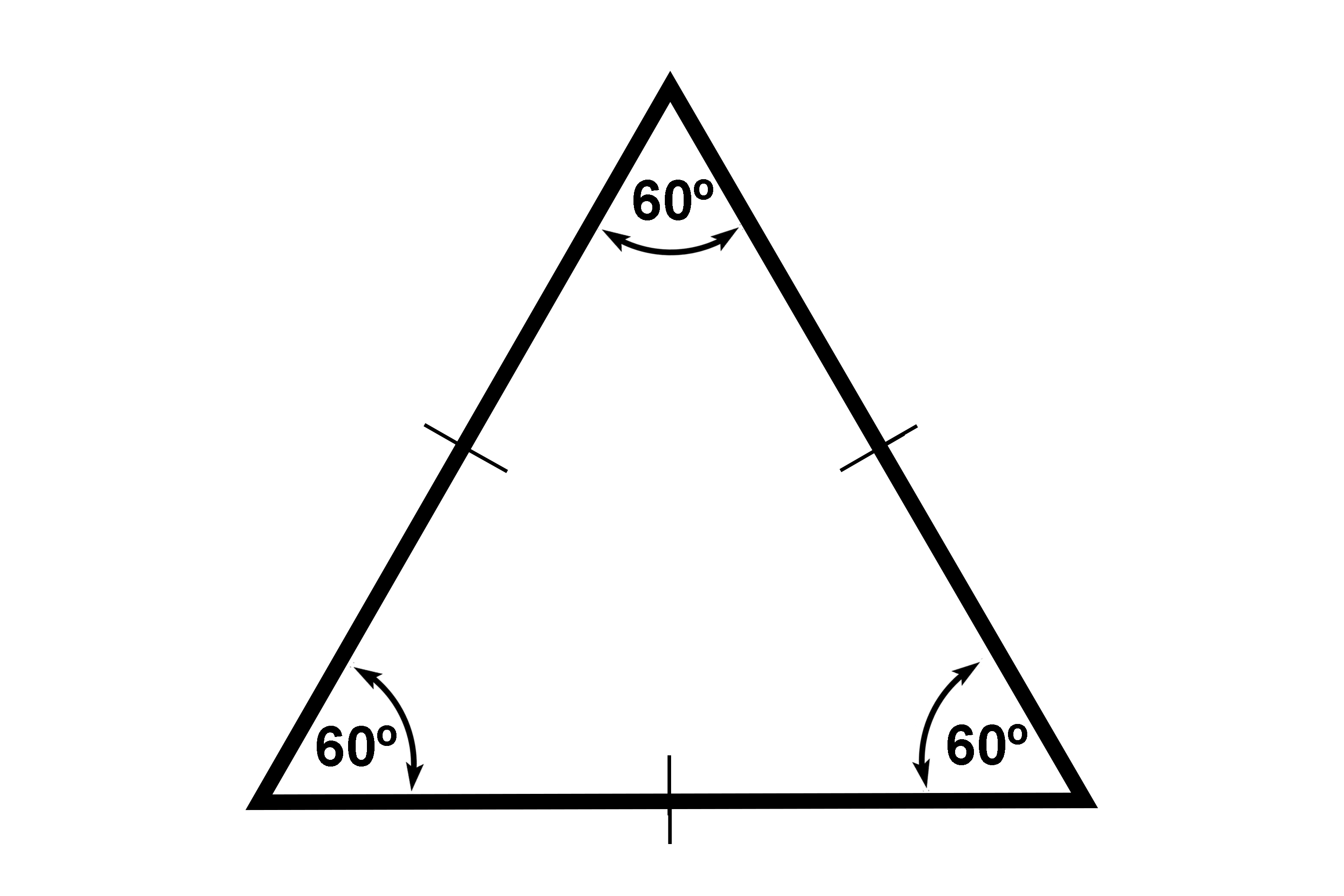 An equilateral has 360 degree corner angles