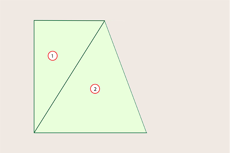 There are 2 triangles in this shape so the interior angles totals 360 degrees