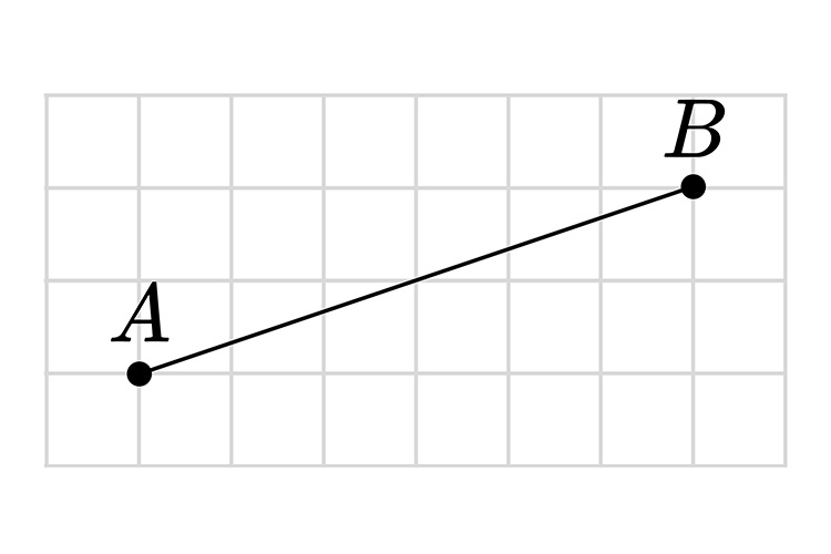 Bisect this line between A and B
