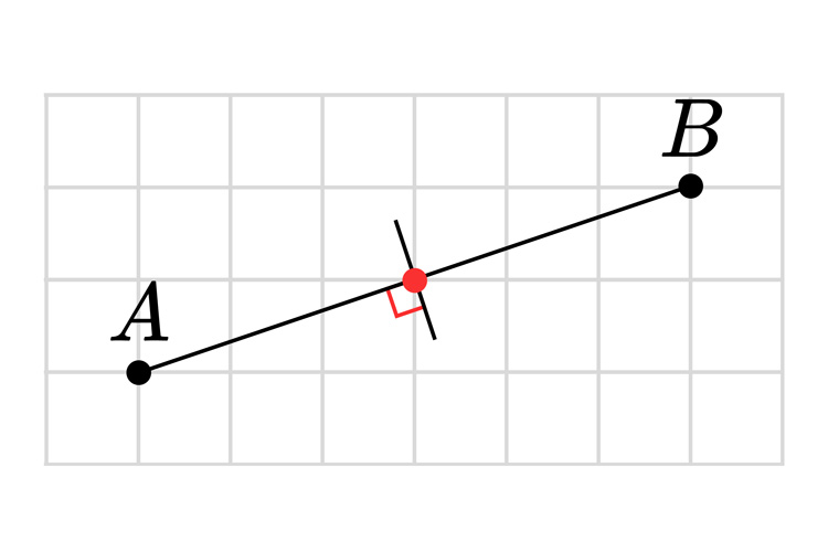 Draw a perpendicular line through A and B and through the bisection