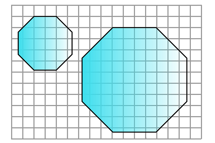 The new shape should be doubled so it is twice as big but doesn't change shape