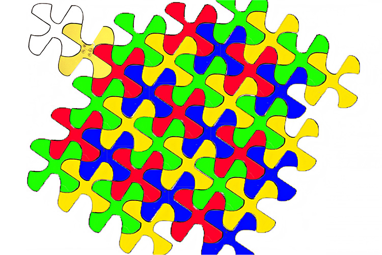 You can draw this complex tessellation by breaking it down first
