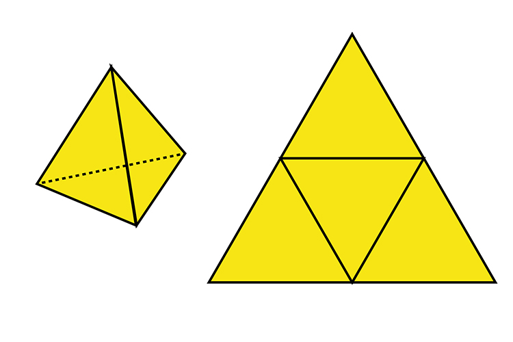 There are 4 triangles in a triangulated pyramid