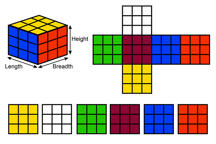 To measure the surface area of a cube you need to separate each face and add them up